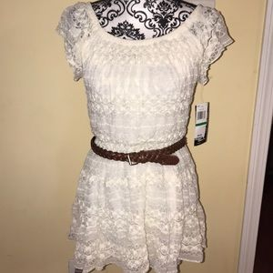 White Lacey Dress with brown belt